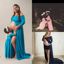 Family Matching Mother Daughter Outfits Pregnant Women Maxi Dress Gown Maternity