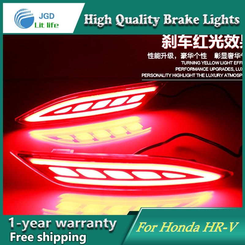 Car Styling LED Rear Bumper Light Rear Fog Lamp Brake Light Turn Signal Light Reflector For Honda HRV HR-V 2015 2016 2017 2pcs for honda crv cr v 2007 2008 2009 sncn multi function led rear bumper light rear fog lamp auto bulb brake light reflector