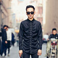 men's long sleeve shirt street fashion slim casual shirt 2017 spring new men dress shirt hip hop chest fold skull button design