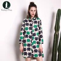 Today Plus 2017 Fashion Women Square Neck Cotton Linen Animal Printed Shirt Dress Oversized Loose Irregular