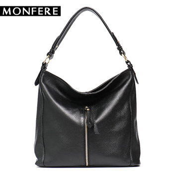 32c953c535 MONFERE Large Soft Cow Real Leather Hobo Bag Women Big Leather Causal  Zipper Shoulder Bags High Quality Brand Messenger Handbag - backfly review