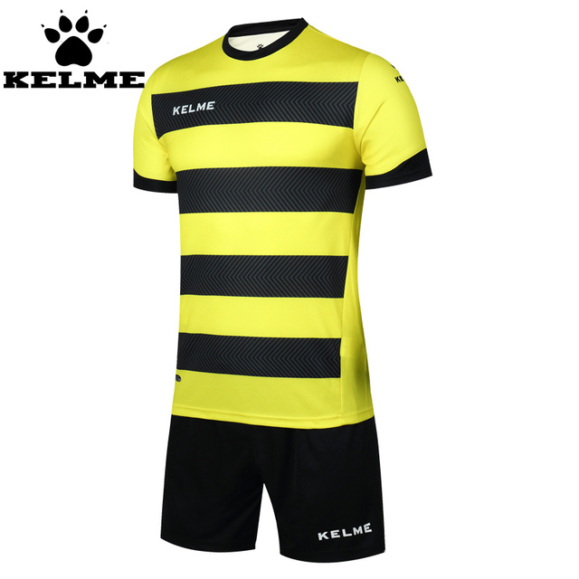 KELME 2016 New Men Soccer Jerseys Suit Uniform Football Training Set Custom Striped Football Jersey Maillot De Foot Tracksuit 49
