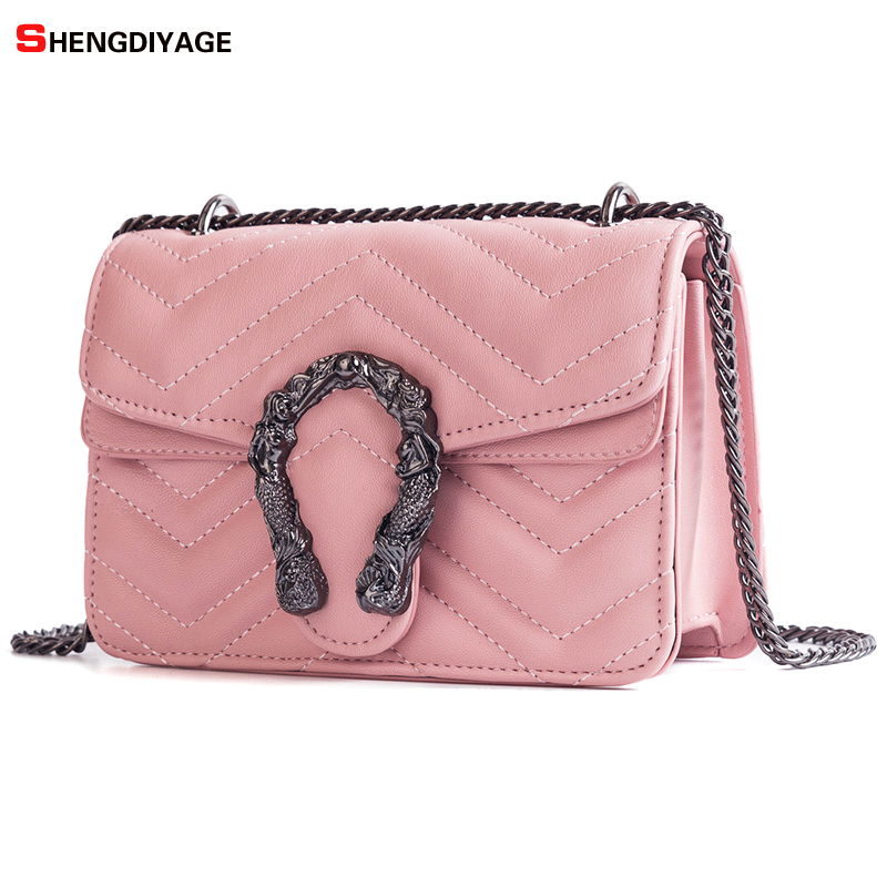 Crossbody Bags for Women 2018 Famous Brand Fashion Chain Small Handbag  Shoulder Bag bolsa feminina Black Pink White Green Beige-in Shoulder Bags  from ... f249dedc80