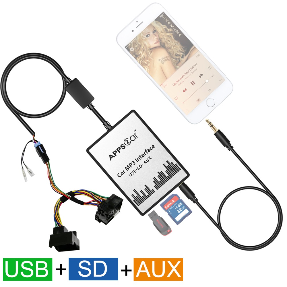 Usb Aux In Adapter Car Mp3 Player Interface Fit Mazda 3 5: Auto Car USB SD AUX Adapter Audio Interface Mp3 Converter