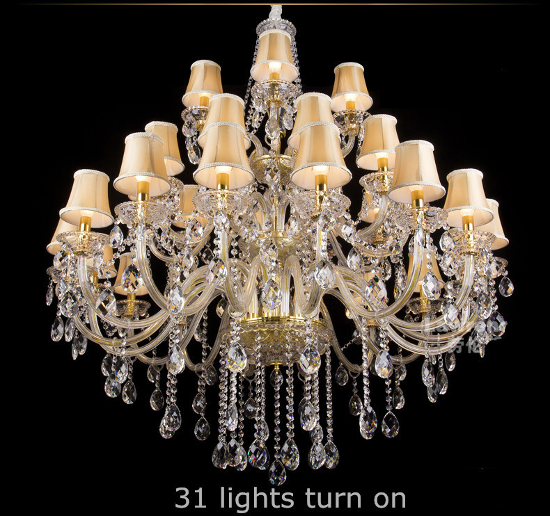 Hotel 31 pcs crystal pendant chandeliers large Led glass chandelier luminaria lustres Big villa hanging light with lampshade
