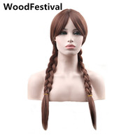 WoodFestival double braid wig cosplay brown/blonde synthetic wigs for women hair heat resistant wig princess