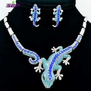 Image 5 - Fashion  Animal Gecko Lizard Necklace Earring Sets with Rhinestone Crystal Women Jewelry Set FA3274