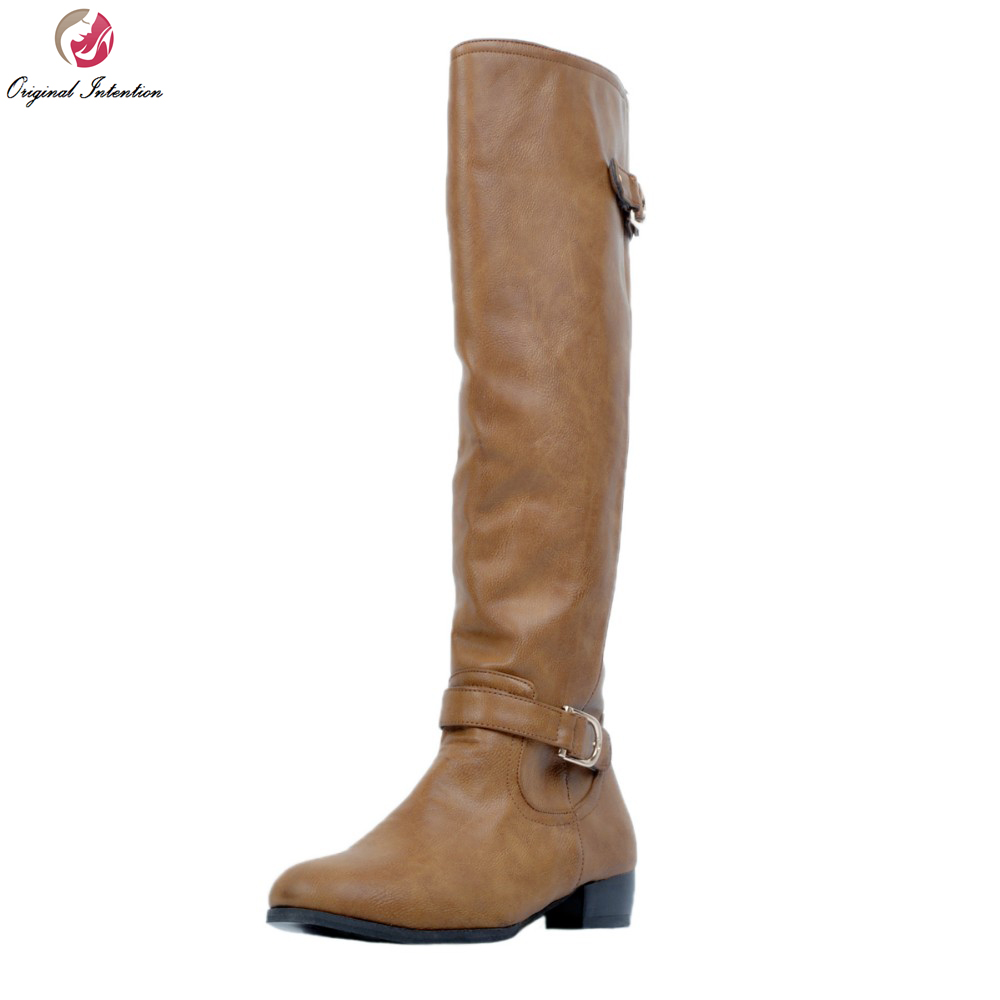 Original Intention Fashion Women Knee High Boots Nice Round Toe Square Heels Winter Boots Brown Shoes Woman Plus US Size 4-15 2017 winter new fashion women brown or white color square toe heels over the knee high thigh boots martin long boots big size 42