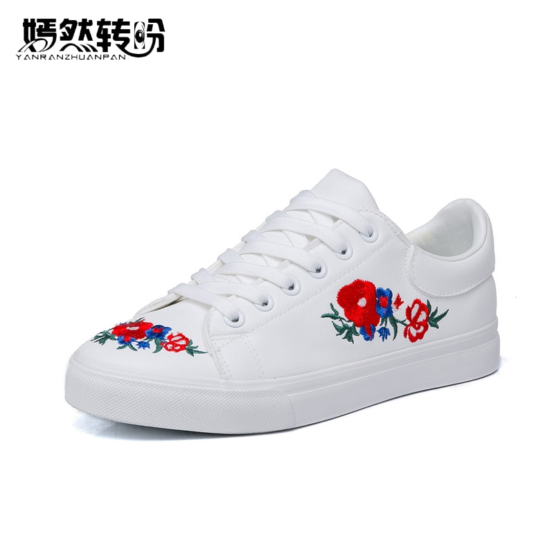 New Women Canvas Shoes White Platform Loafers Flower Embroidered Creepers Lace-Up Flats Casual Flowers Shoes Woman new women chinese traditional flower embroidered flats shoes casual comfortable soft canvas office career flats shoes g006