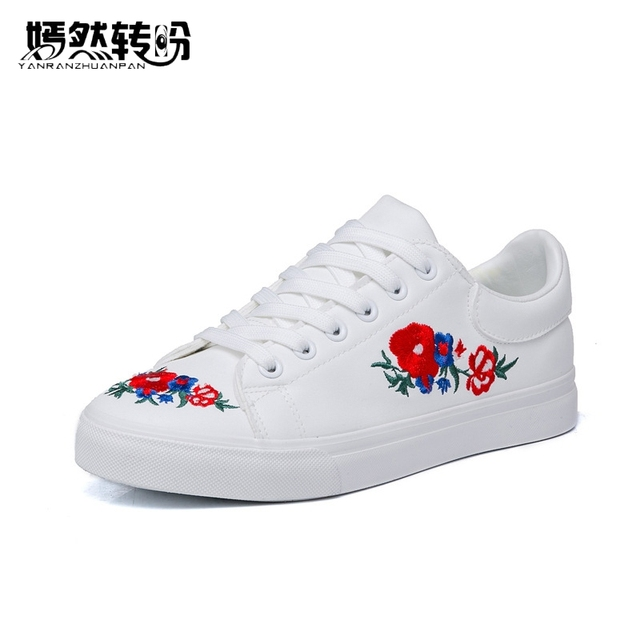 New women canvas shoes white platform loafers flower embroidered new women canvas shoes white platform loafers flower embroidered creepers lace up flats casual flowers mightylinksfo
