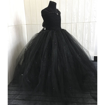 5e3313a9b5 Black V-neck Fluffy Girl Tutu Dress Princess Elegant Baby Girl ...