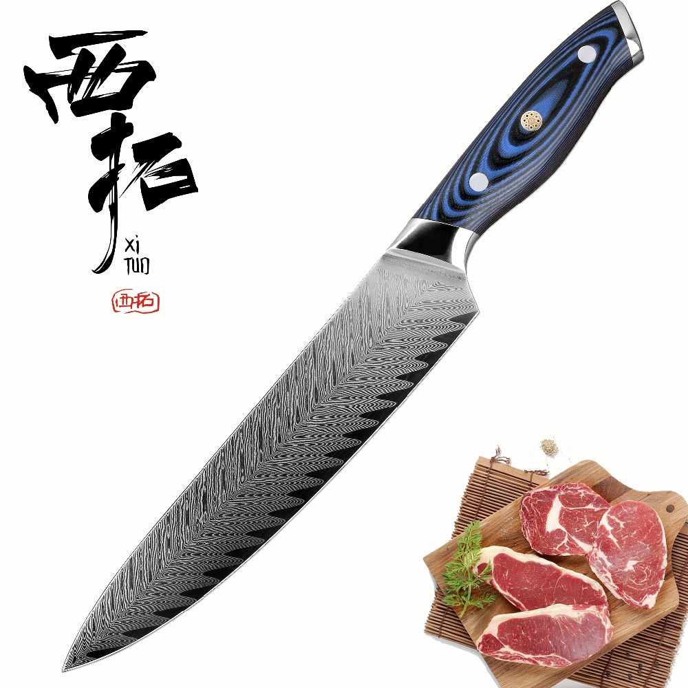 XITUO Chef Knife 8 inch Damascus Stainless Steel Professional Kitchen petty Knife Japanese salmon Utility santoku