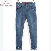 Women jeans legging Skinny casual Blue Jeans  Mid Waist Denim Pants  Pencil Jeans trousers street fashion Jeans Feminine