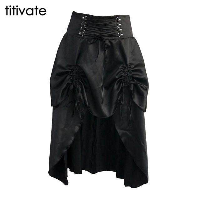 Titivate sexy ladies verano otoño europa américa faldas mujeres gothic rock punk negro vintage gothic steampunk falda más el tamaño
