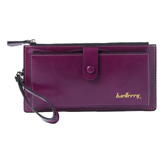 Baellerry Female Leather Hand Bag Fashion Wallets Women Coin Purses Wristlet Bags With Strap, Purple women genuine leather character embossed day clutches wristlet long wallets chains hand bag female shoulder clutch crossbody bag