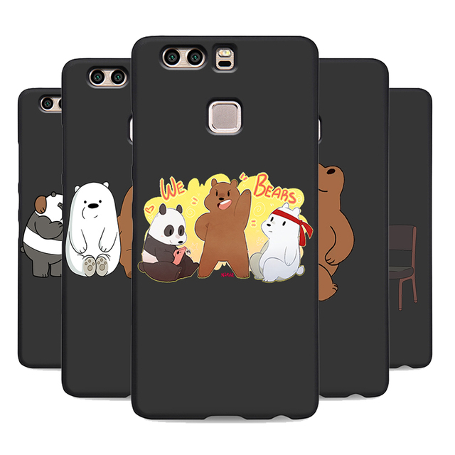 we bare bears miniso soft silicone black cover phone case for huawei