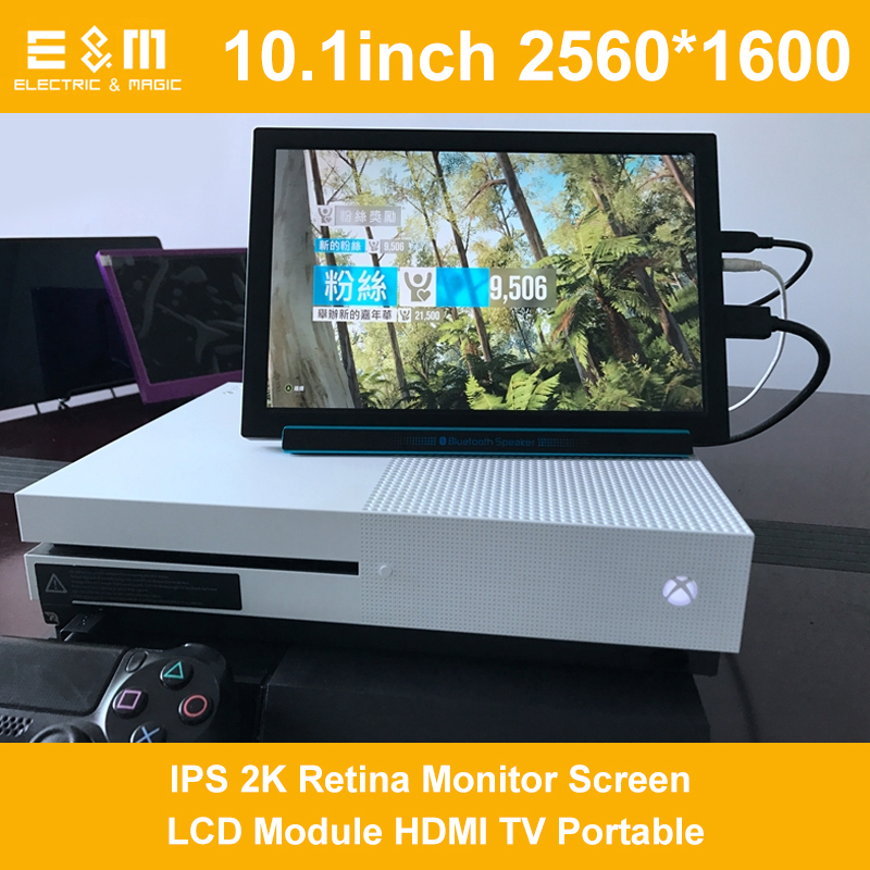E&M 10.1 Inch 2560*1600 IPS 2K Retina Monitor Screen LCD Module HDMI TV Portable Raspberry Pi 3 Xbox PS4 Aerial Displayer Player