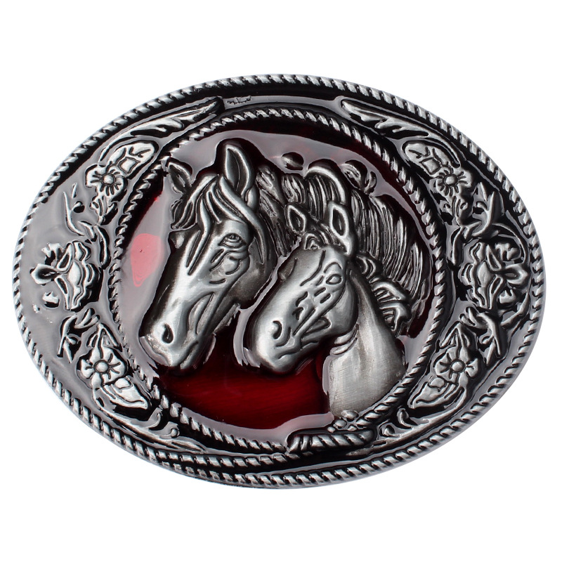 Two Horsehead Belt Buckle The Pattern Is Contracted Belt Buckle