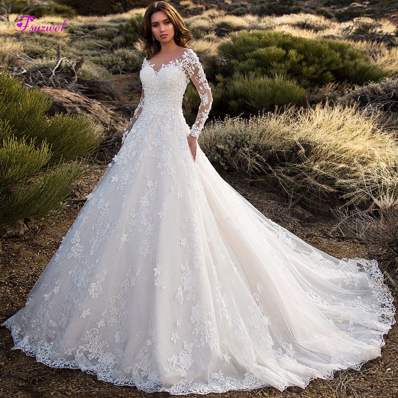Glamorous Court Train Appliques Lace A-Line Wedding Dress 2019 Sexy Scoop Neck Flowers Long Sleeve Princess Bride Gown Plus Size