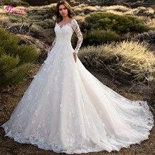 Glamorous Gericht Zug Appliques Spitze A Line Hochzeit Kleid 2020 Sexy Scoop Neck Blumen Langarm Prinzessin Braut Kleid Plus Größe