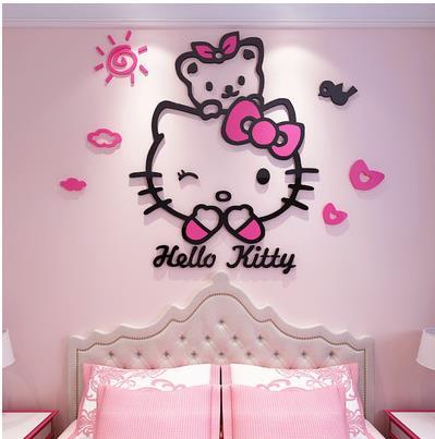 Кошка Hellokitty Акриловые 3d наклейки на стену для детской комнаты Мультяшные наклейки для спальни прикроватные настенные украшения-84