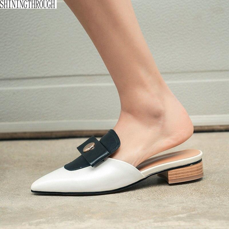 100% Kuh Leder Low Heels Hausschuhe Schuhe Frau Außerhalb Poined Zehe Hausschuhe Frauen Mode Sommer Schuhe