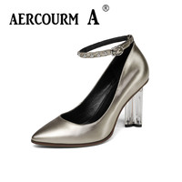Aercourm A 2018 Women Fashion Silk Surface Shoes Women Genuine Leather Shoes Crystal Heel Pumps Heels