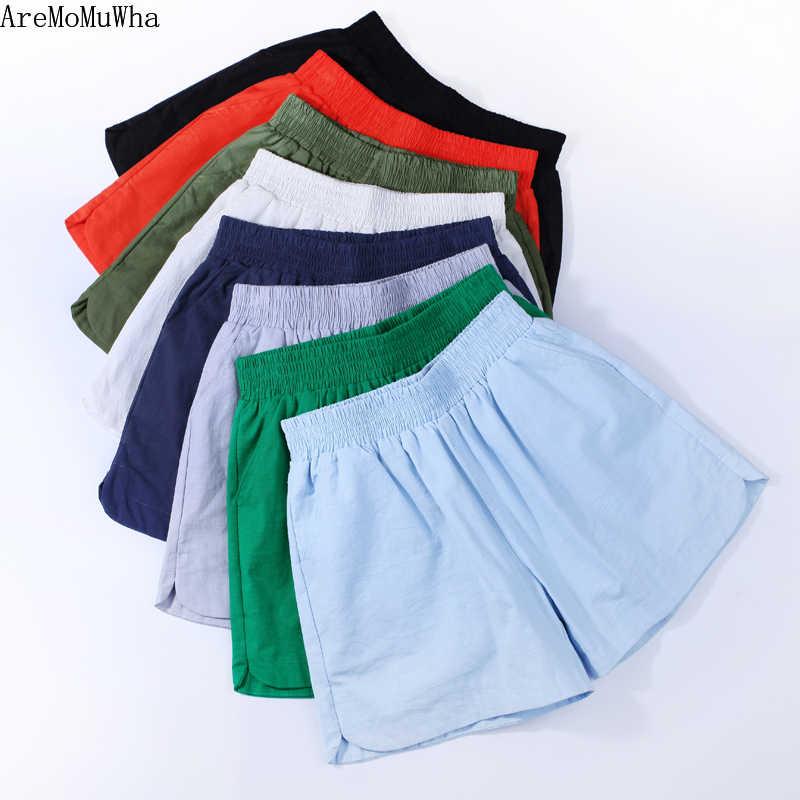 AreMoMuWha High Waist Shorts Female Summer Linen Loose Slim Korean Version Hot Shorts Summer Large Size S-4XL Thin Shorts QX982