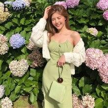 Bazaleas Vintage anís estampado de puntos verde vestido de verano Francia tirantes espagueti Midi vestido de moda vestidos Slim drop shipping