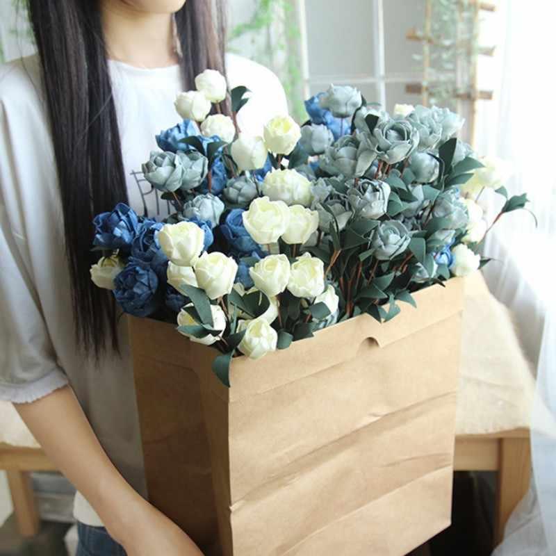 6 ראשים/זר עלה פרחים מלאכותיים עיצוב בית תפאורה חיקוי מזויף פרח עבור גן צמח עיצוב שולחן יד- מחזיק פרח