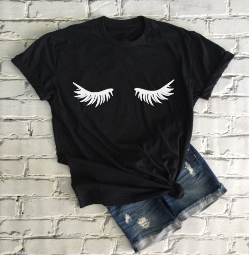 Eyelashes T Shirt Makeup Fashion Tee Eyelashes Makeup Lashes Mascara Funny Tee Fashion Brunch Shirt Tumblr Graphic Tops