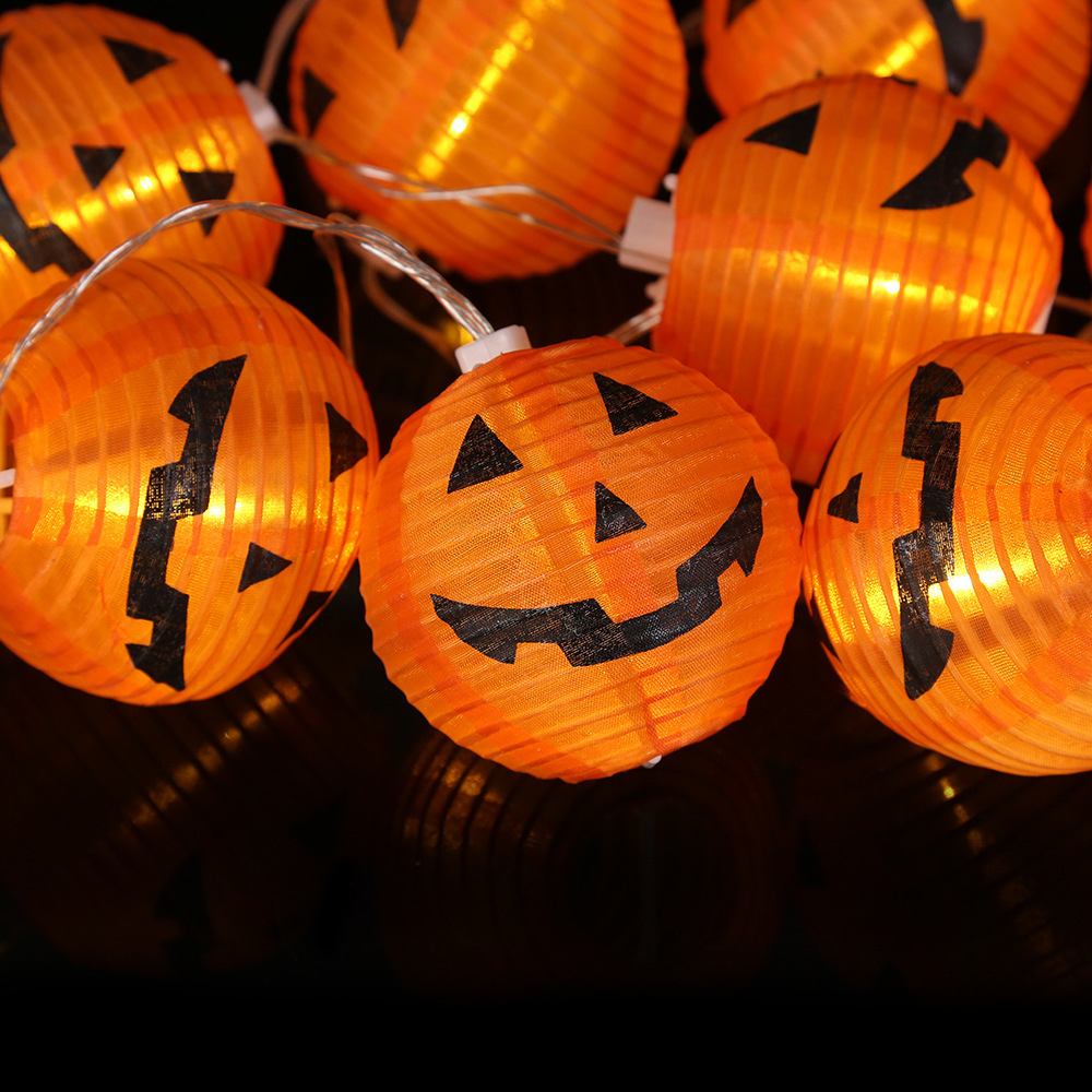 1 Set 10 LEDs Halloween Pumpkin String Lights 3D Halloween Party Home DIY Decor Props 1.2M  Warm White Battery Operated Light (5)