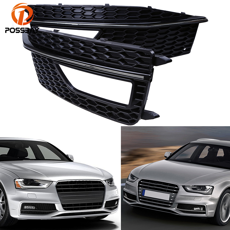 POSSBAY Car Front Lower Bumper Grille Fog Light Grills Cover for Audi A4 B8 2012 2013 2014 2015 S4 S-line Car Accessories for audi a4 b8 s4 a4 allroad 2008 2009 2010 2011 2012 2013 2014 2015 car styling right side led fog light fog lamp