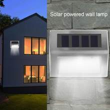 Lámpara de pared Solar de jardín de acero inoxidable 3LED luz de paisaje impermeable al aire libre luz Solar led para lampara exterior(China)
