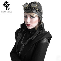 Gear Duke Fashion Leather Black Cosplay Caps Hats Steampunk Military Cool Flying cap