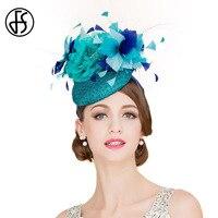 FS элегантный Для женщин королевский синий свадебное платье шляпа 100% лен Pillbox Шапки с цветочным Перо дамы Винтаж Кентукки Дерби Fedora