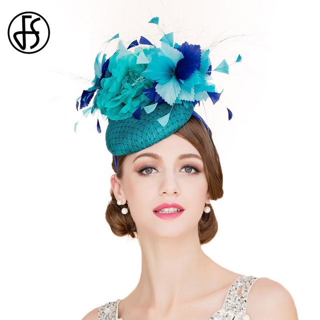 FS Women Elegant Royal Blue Wedding Dress Hat Fascinators 100% Sinamay  Pillbox Hats Floral Ladies 8ee0972d369