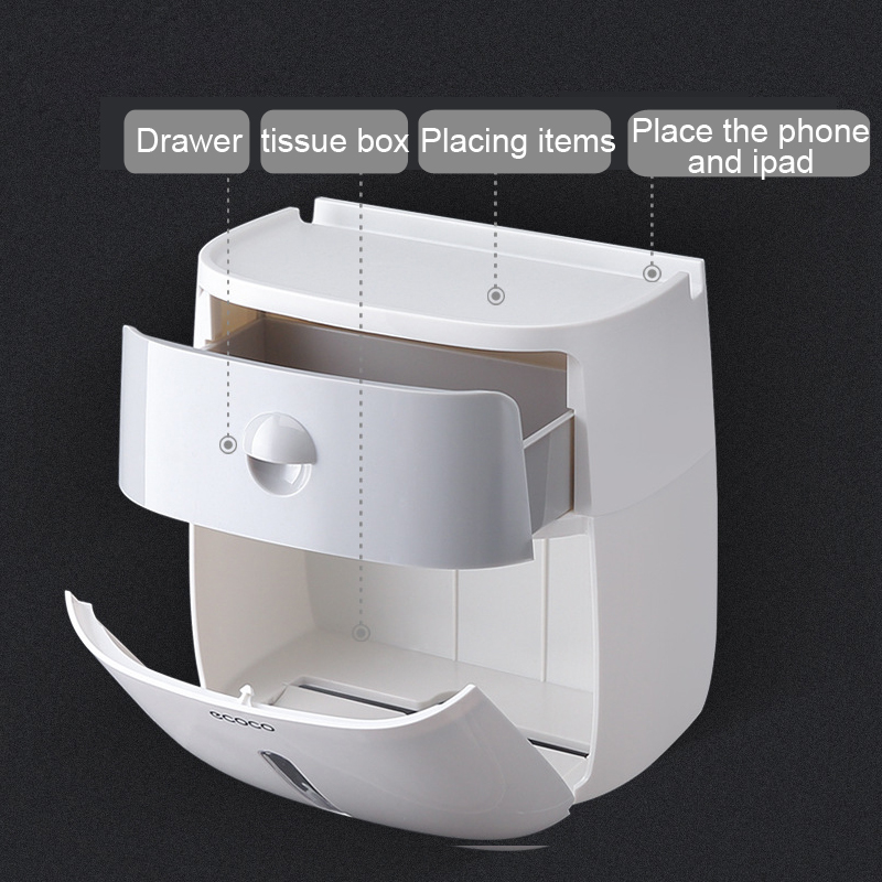 Wall Mounted Waterproof Towel Holder and Toilet Paper Dispenser 3