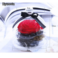 Kyunovia Mini Real Rose Flower Preserved Eternal Hydrangea Dried Flower Valentine Birthday Romantic Gift Home Decoration KY104