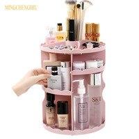 Large Capacity 360 Degree Rotating Makeup Organizer Adjustable Lipstick bracket Multi Function desktop Cosmetics Storage Box