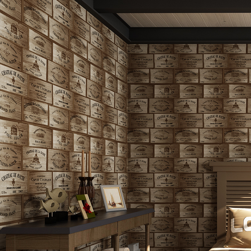 Wallpapers Youman For 3D Wine Box Lattice wall Paper Wooden Wine Label Wallpaper For Bar Coffee