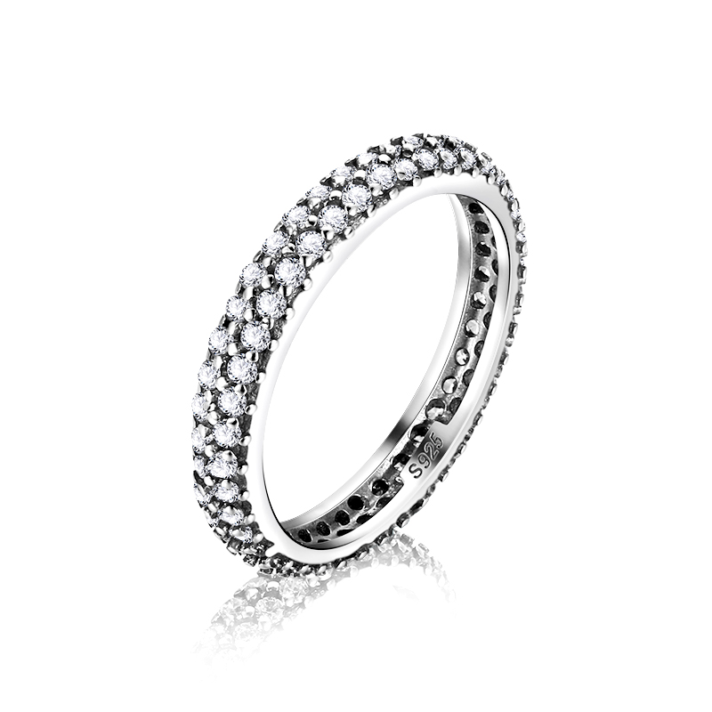 100% 925 Sterling Silver Inspiration Within Stackable Ring Clear CZ Crystal Luxury Jewelry Women Engagement Wedding Finger rings