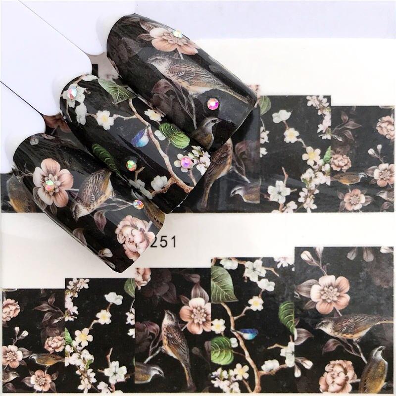 ZKO 1 Folha Preta Flor/Borboleta/Dream Catcher Decalques para Unhas para Manicure Marca D' Água Unha Polonês Adesivo 32 Estilos para Escolher