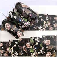 ZKO 1 hoja de Flores Negras/mariposa/atrapasueños calcomanías de uñas para marca de agua manicura esmalte pegatinas de uñas 32 estilos para elegir