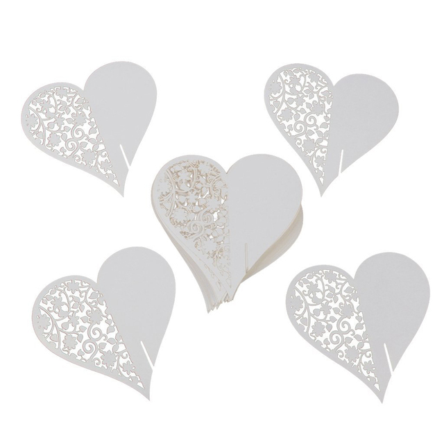 50PCS Hollow Love Heart Table Cards Wine Glass Markers Wedding Cake Toppers  Guest Name Card Laser
