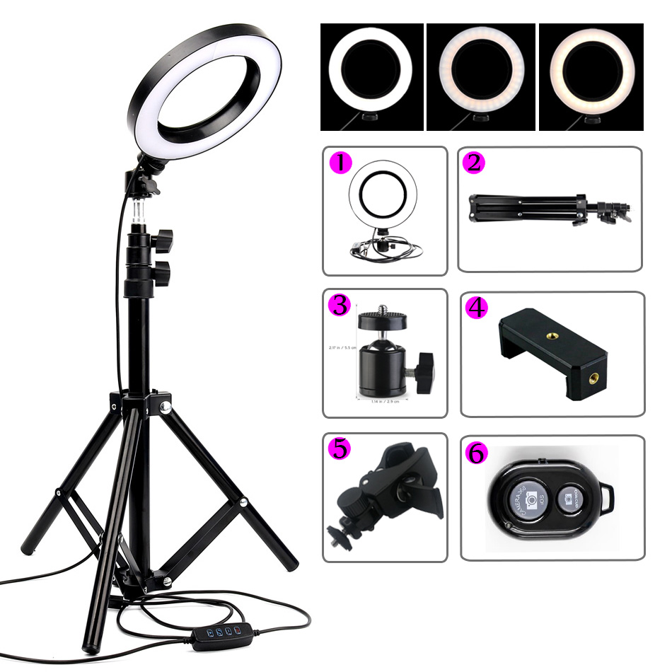 1.6m/1.9m Tripod + 6 16cm Ring Light Youtube Video Light Lamp Dimmable Photography Led Selfie Light Camera Photo Phone Lighting image