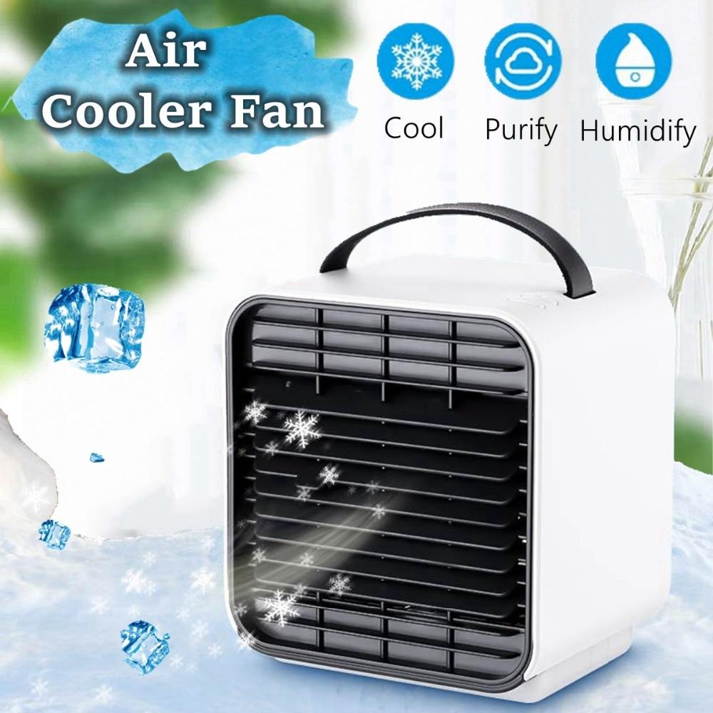 WXB New Mini Negative Ion LED Air Conditioning Fan Portable Air Conditioner Handheld Desk Fans air Cooler Humidifier Cool Down air conditioning