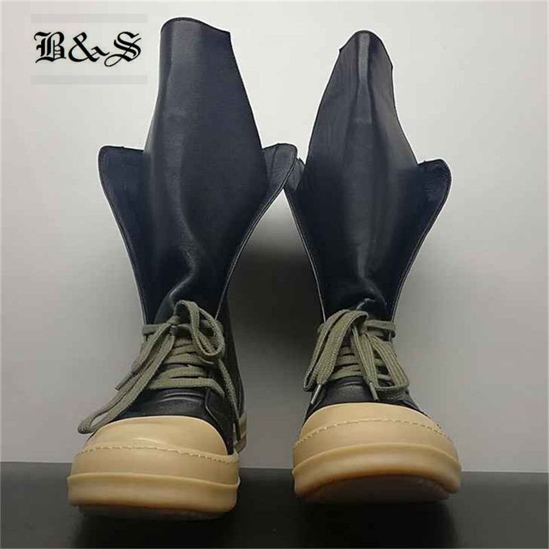 Black& Street 2018 S/S Exclusive gum rubber Outsole Real Picture High Top Sneaker New Luxury Genuine Leather Trainers H Boot