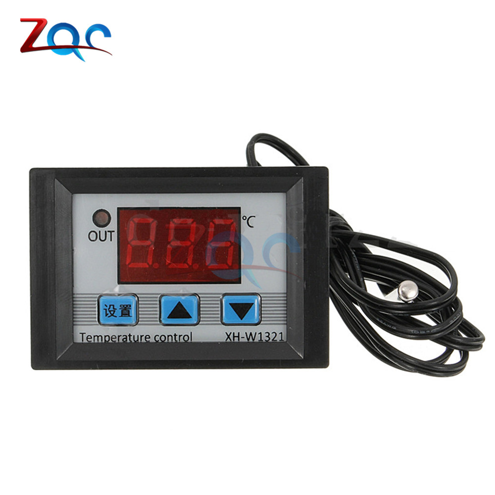 XH-W1321 DC 12V 10A LED Digital Temperature Thermostat Controller 10A Thermomter Control Switch Waterproof NTC Sensor Meter ac 110 220v 10a digital led temperature controller xh w3001 cooling heating switch thermostat with ntc sensor for arduino