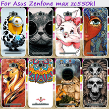 Hard Plastic Cool Skull Cute Minions Flower Phone Cases For ASUS Zenfone MAX zc550kl 5.5 inch Phone Cover Phone Bags Accessories